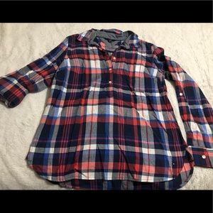 Tommy Hilfiger Plaid Button Up Tunic Top/Blouse